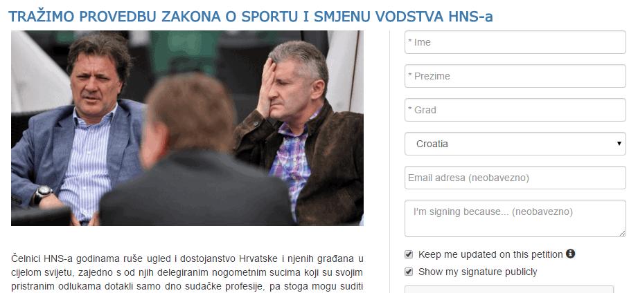 Peticija: Tražimo provedbu Zakona o sportu i smjenu vodstva HNS-a