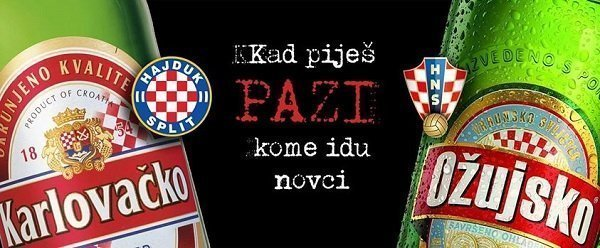 """Zagrebačka pivovara prijeti tužbom zbog slike """"Kad piješ, pazi kome idu novci"""""""