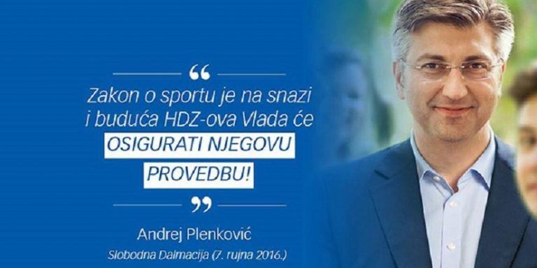 Plenković Zakon o sportu