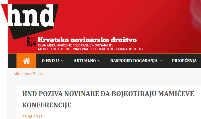 HND pozvao policiju da reagira po službenoj dužnosti, a novinare na bojkot Mamićevih 'konferencija'