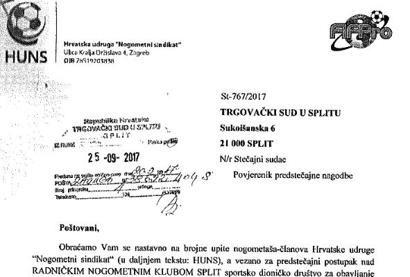 Novi problemi za RNK Split; sindikat nogometaša zahtijeva od suda da se bivšim igračima priznaju cjelokupna potraživanja