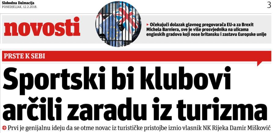 Slobodna Dalmacija: Sportski bi klubovi arčili zaradu iz turizma