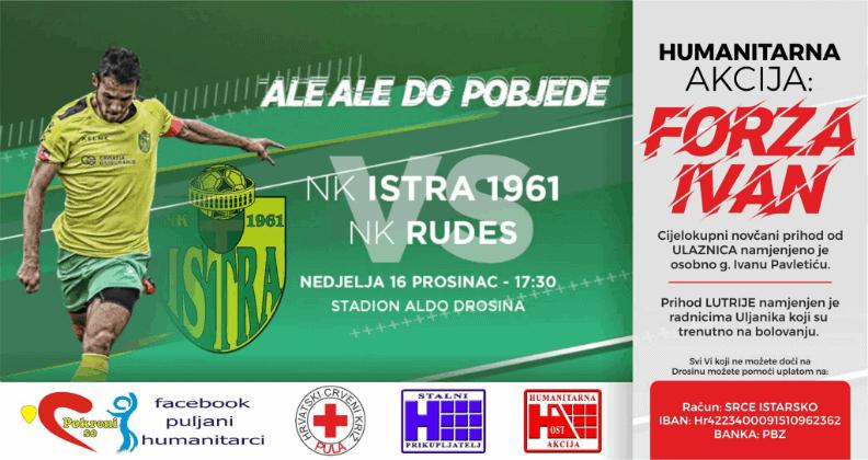 Istra 1961 tijekom utakmice s Rudešom organizira humanitarnu akciju za pomoć radniku Uljanika