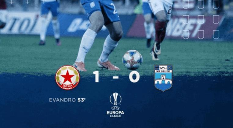 EL: CSKA pogotkom Evandra svladala Osijek u Sofiji (VIDEO)